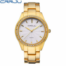 CRRJU Luxury Women Watches Rhinestone Crystal Wristwatch Lady Dress Watch Luxury Analog Quartz Watches Relogio