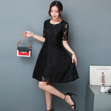 Allgood Fashion plus size women dress vintage summer Korean lace Flora short-sleeved lace dress o-neck vetidos