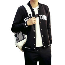 Farfi Men Casual Letter Print Striped Baseball Jacket Snap Buttons Long Sleeve Coat