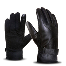 SiYing Men's fashion business imported gloves leather + plush motorcycle gloves