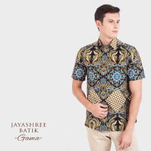 JAYASHREE BATIK Slim Fit Short Sleeve Gama - Black