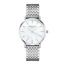 ROSEFIELD The Upper East Side Silver White Dial Watch with Silver Strap [UEWS-U22]