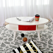 LIVIEN Furniture Meja Tamu - Meja Belajar - Oval Table Timmy - Red White