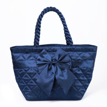 Naraya Satin Quilted Trapeze Handbag with Bow NBS-52 No.102 Navy Blue