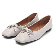 Love Pendant Soft Leather Slip On Bow Flat Loafers For Women Grey 41