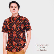 JAYASHREE BATIK Slim Fit Short Sleeve Devara - Black