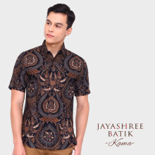 JAYASHREE BATIK Slim Fit Short Sleeve Kama - Black