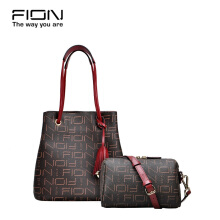 FION PU + Cow Leather Top Handle bag - Brown & Red/Camel