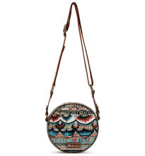 SAKROOTS Small Round Crossbody in Natural One World