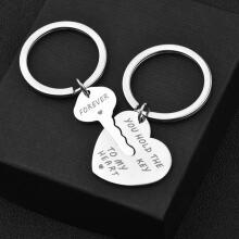 Farfi 2Pcs You Hold The Key To My Heart Forever Keychain Keyring Couple Lover Gift as the pictures