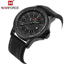 NAVIFORCE 9076 Mens Watches Brand Luxury Male Quartz Watch Waterproof Sports Military Watch Leather Clock