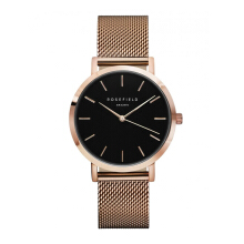 ROSEFIELD The Mercer Rose Gold Black Dial Watch with Rose Gold Strap [MBR-M45]