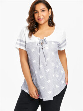 Striped Short Sleeve Star Print Plus Size T-shirt Polyester Regular  Length Round Neck  Fashion Star,Striped