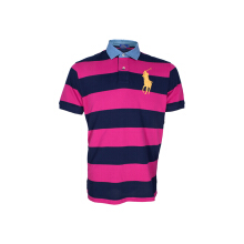 POLO RALPH LAUREN - Custom-Fit Lacoste Striped Polo Navy-Pink Men