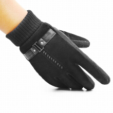 GOODTURN Men's fashion leather imported gloves plus velvet warm windproof riding gloves