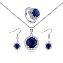 Classic Blue Zirconia Necklace Earrings Finger Ring Wedding Party Set