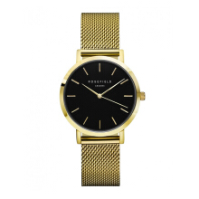 ROSEFIELD The Tribeca Gold Black Dial Watch with Gold Strap [TBG-T60]