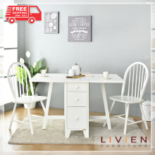 Meja Makan Lipat Transformer + 2 PCS Winger Chair (White Series)  LIVIEN FURNITURE