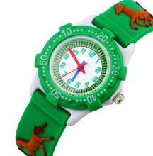 Keymao Horse Waterproof 3D Cute Cartoon Silicone Wristwatches Gift for Little Girls Boy Kids Children Green