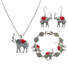 Red Elephant Hollow-out Sparkling Clear Zirconia Necklace Earrings Bracelet Festival Party Set