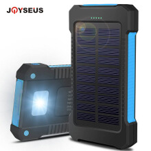 JOYSEUS 10000mAh Solar Charger Portable Solar Power Bank Outdoors Emergency External Battery for Phone/Tablets Blue
