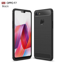 DELIVE OPPO F7 TPU Soft Carbon Fiber Silicone Brushed Anti-knock phone Back Cover