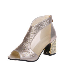 BESSKY Women Metal Buckle Rivets Zipper Fish Mouth Rough With High heeled Shoes Sandals_