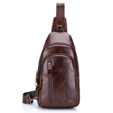 Bullcaptain® Men Genuine Leather Vintage Chest Bag Retro Casual Shoulder Bag Coffee
