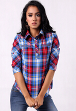 Point One LOVA Plaid Shirt - Blue