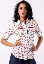 Point One UTHE floral shirt with contrast  - White