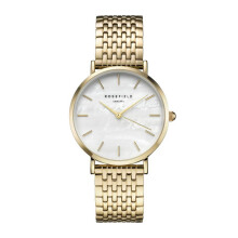 ROSEFIELD The Upper East Side Gold White Dial Watch with Gold Strap [UEWG-U21]
