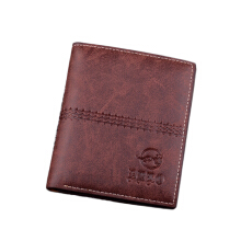 [LESHP]DBLO Fashion Short Men's PU Leather Stylish Stitching Pattern Designed Brown