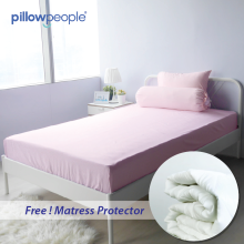 PILLOE PEOPLE Bed Sheet / Sprei  Stripe Pink  + Matras Protector