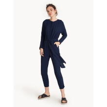 Cropped Ankle Tie Waist Jumpsuit - Navy