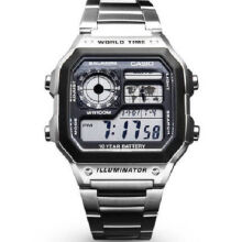 Casio AE-1200WHD-1A Sports double display waterproof electronic watch-Silver