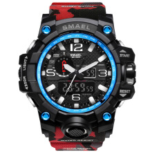 SMAEL 1545 Waterproof Camouflage Military PU Digital Watch LED Digital Dual Display Electronic Watch