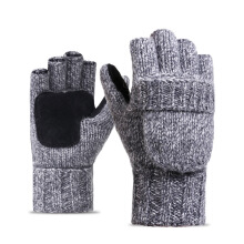 SiYing Men's imported wool gloves velvet thickened leather warm outdoor riding half finger gloves