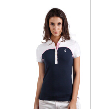 POLO RALPH LAUREN - Custom-Fit Lacoste Polo Shirt Navy-White-Pink Ladies