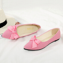 Cloth Striped Casual Flat Shoes Soft Loafers For Women Pink 39