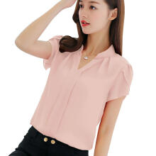 Farfi Summer Short Sleeve V-neck Shirt Fashion Solid Color Chiffon Women Blouse Top