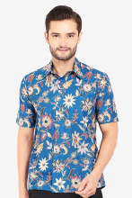 JAYASHREE BATIK Slim Fit Short Sleeve Kesara - Blue
