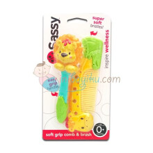 Sassy Soft Grip Comb & Brush Giraffe and Lion Color Full Age 0M+