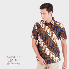 JAYASHREE BATIK Slim Fit Short Sleeve Parang - Navy