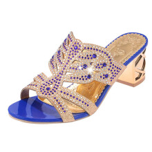 BESSKY Women Rhinestone Slippers For Women Fashion Open Toe Shoes Bohemia Heels_