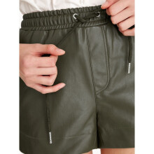Faux Leather Drawstring Shorts - Olive