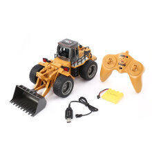 COZIME HUINA 1520 6CH RC Metal Bulldozer 1/18 2.4GHz RTR Front Loader Engineering Toy Brown