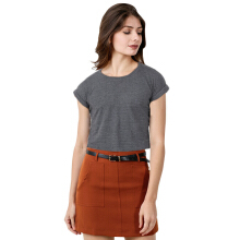 FACTORY OUTLET LO1709-0005 Women T-Shirt SS - 9764 M Grey Stripe Black