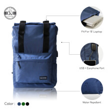 The X Woof - Water Repellent Roll top Backpack. Spack-FM 1.0 Blue Navy Blue
