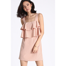 LOVE BONITO Dahnea Tiered Ruffled Dress - Blush - L