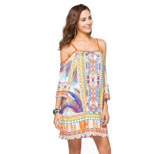 CAUSEY Printed milk silk beach harness dress